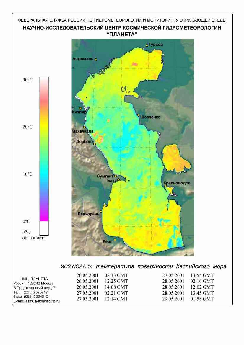 Каспийского моря температура